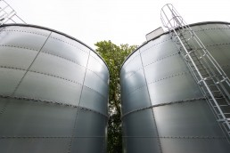 photographing storage tanks