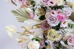 beautiful florals on Sassflower indie wedding fair display