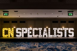 large wooden letters at the CN Specialists Awards 2019