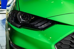 green ford mustang headlight