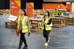 event workers in high vis