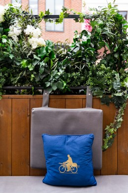 blue cushion decorating the new St Germain terrace at All Bar One, Stratford Upon Avon