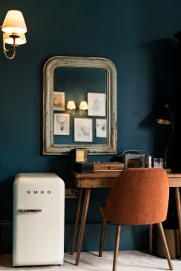 interior photographer london - desk and chair with a smeg fridge