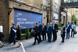 people arriving at the Brewery for the CBI Annual Dinner 2019